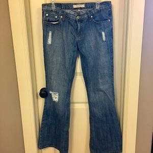 Denim - Truck Jeans Flare Style Blue Distressed Jeans